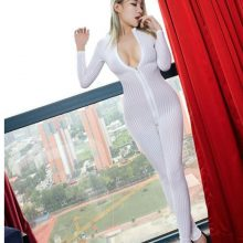 FCCEXIO Dame Black Striped Sheer Bodysuit Smooth Fiber 2 Zipper Long Sleeve Sexy Jumpsuit  Women Love Game Jumpsuits & Rompers