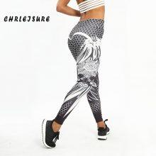 CHRLEISURE Honeycomb Skull Fitness Legging Solid Color Sexy Fashion Print Leggings Polyester Wings High Waist Women Legging