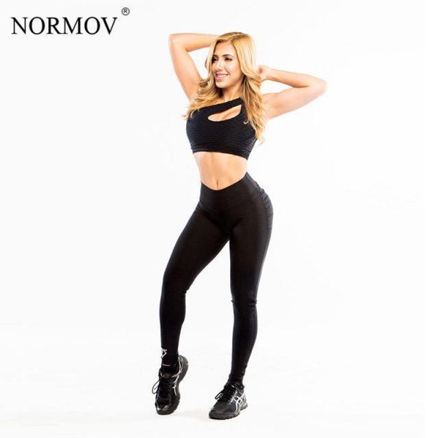 NORMOV S-XL Women Push Up Leggings Polyester Fitness Legging Large Size Black Slim Jeggings High Waist Leggings Trousers Women