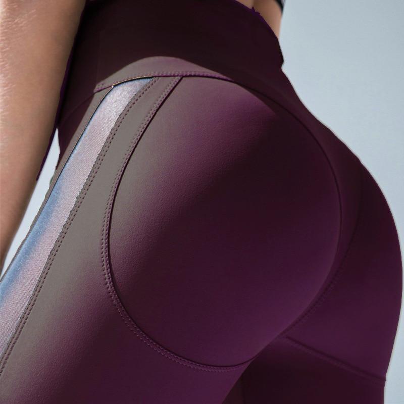 Women Spandex Leggings Fitness Elastic Push up Legging Pants Mesh Patchwork Fashion Female Pink Workout Leggings Plus Size