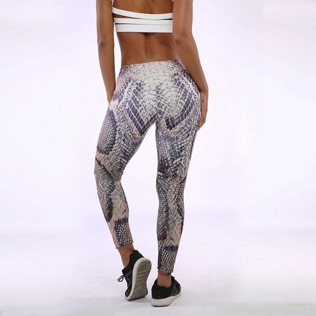 CHRLEISURE Printing Fitness Leggings Women Fashion Polyester Ankle-Length Pants Snake Skin Push Up Keep Slim Women Legging