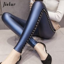 Jielur New Winter Fleece Matte PU Leather leggings Women Fashion Rivets Push Up Pencil Pants 4 Colors S-XXXL Slim Lady Leggins