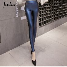 Fleece Matte Pu Leather Leggings Rivets Push Up Pencil Pants 4 Colors S-xxxl Slim Lady Leggins