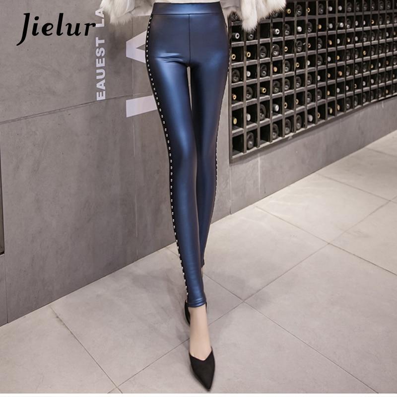 Jielur New Winter Fleece Matte PU Leather leggings Women Fashion Rivets Push Up Pencil Pants 4 Colors S-XXXL Slim Lady Leggins