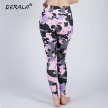 Women Stretchy Fitness Excercise Pink Camouflage Leggings Ladies Summer Digital Print Camo Leggings Workout Active Pants