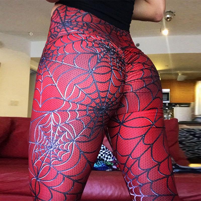 2019 Spider Printing Leggings Put Hip Elastic High Waist Legging Breathable Slim Pants