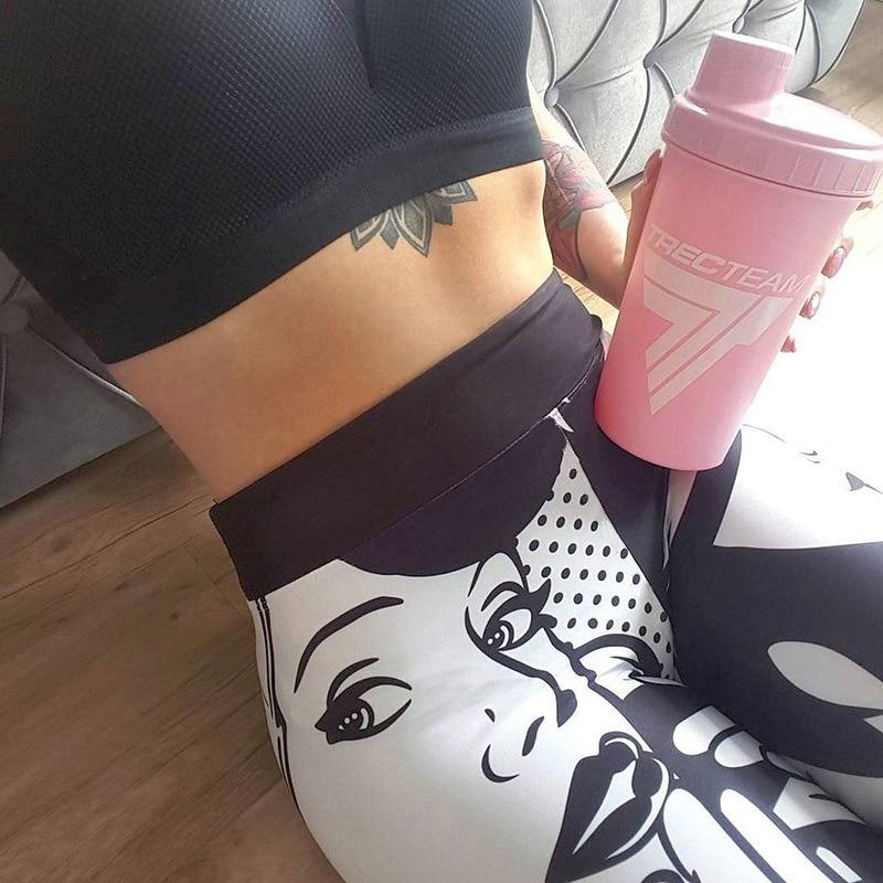 2019 Hayoha New Printing Leggings Put Hip Elastic High Waist Legging Breathable Slim Pants