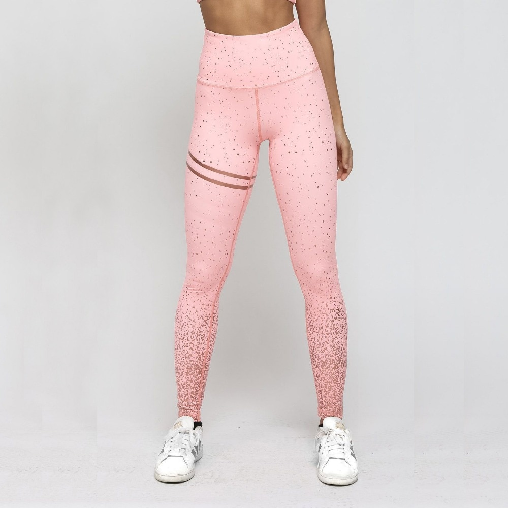New Hotsale Women Pink Print Leggings High Waist Women Sportwear Clothes Pink Fitness Leggins