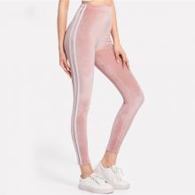 Pink Side Striped Velvet Leggings Bottoms Female Sporty Ladies Pants