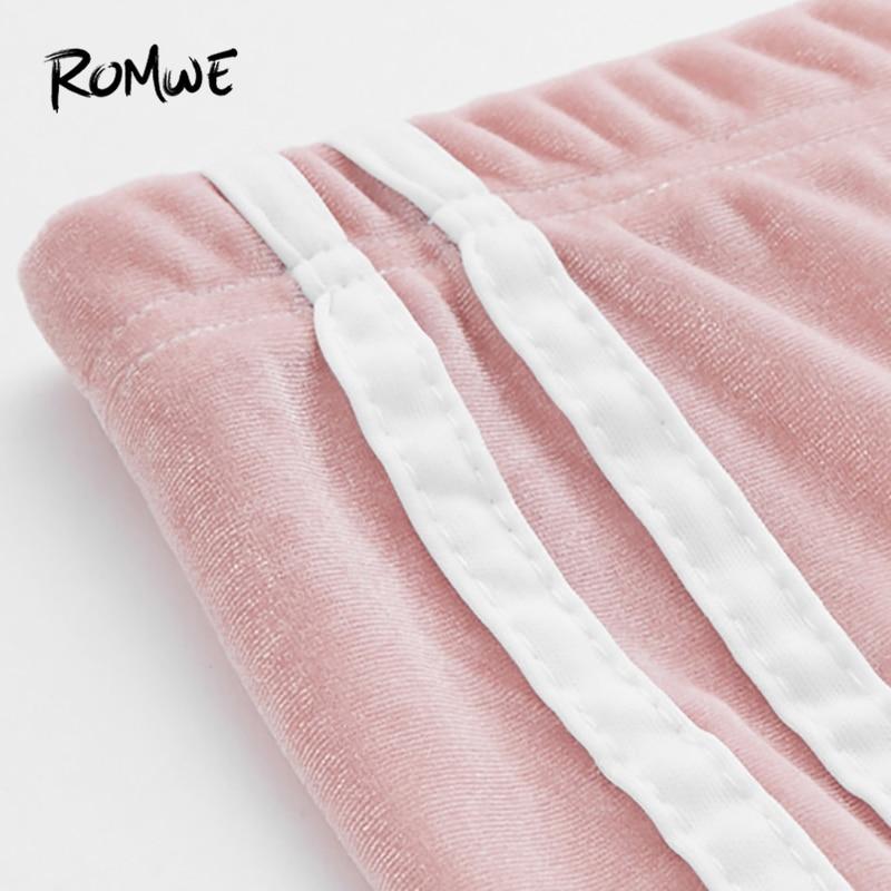 ROMWE Pink Side Striped Velvet Leggings Women Casual Autumn Fashion Bottoms Female Spring Sporty Clothes Ladies Leggings Pants
