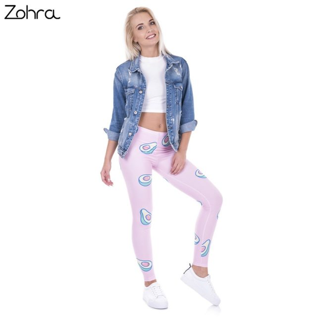 Zohra Brand Fashion Printed Women Legging 100% Brand New Leggings Avocado Pink Leggins Sexy Slim Legins High Waist Women Pants
