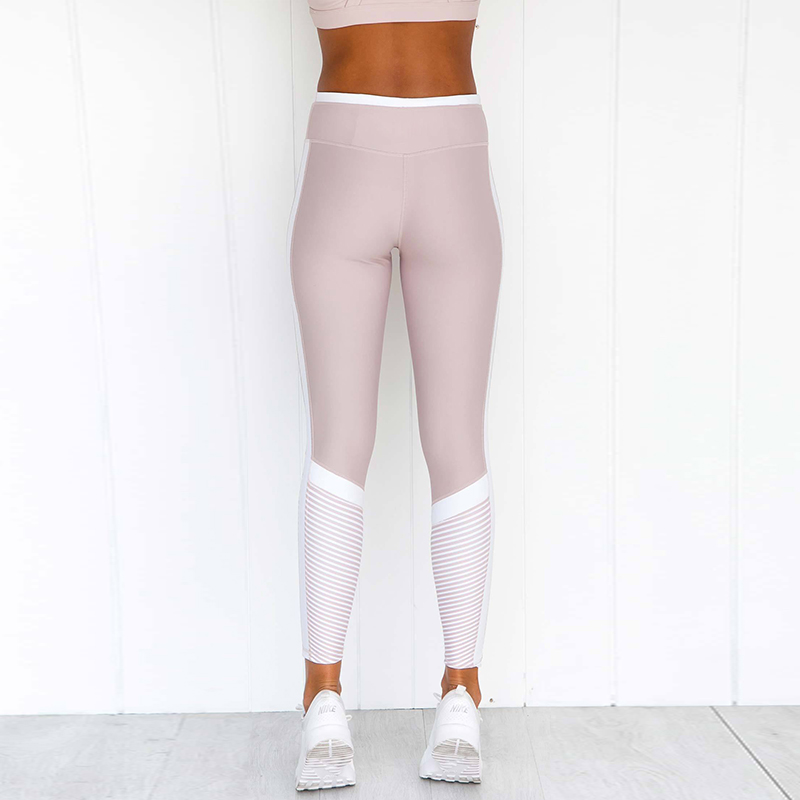 2018 Women Push Up Leggings for Fitness High Waist Workout Leggings Contrast Color Pink Sports Pants Girls Active Pants Skinny