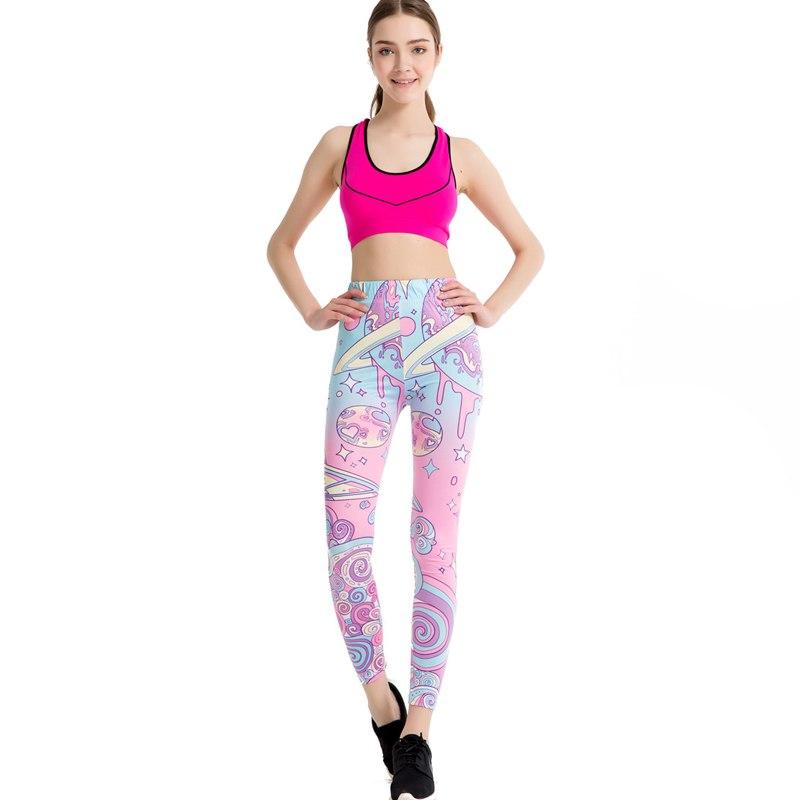 Wholesale Cartoon Pink Print Leggings Kawaii Pattern Harajuku Pencil Pants Women 2017 Fitness Leggins Female Jeggings WAIBO BEAR