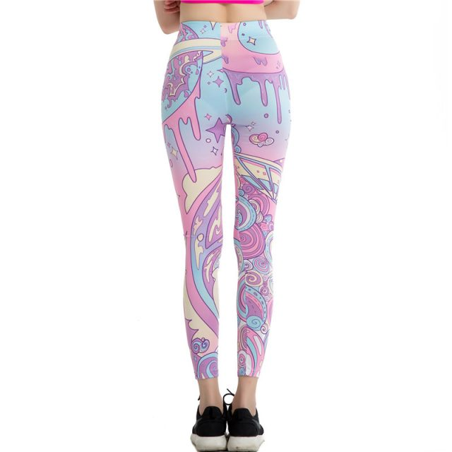Wholesale Cartoon Pink Print Leggings Kawaii Pattern Harajuku Pencil Pants Women 2017 Fitness Leggins Female Jeggings WAIBO BEAR