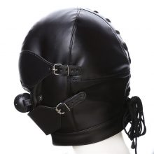Black Sex Mask Fetish BDSM Leather Mouth Eye Slave Hood Ball Gag Sex Product Toy Bondage Erotic Costume For Couple Men Women