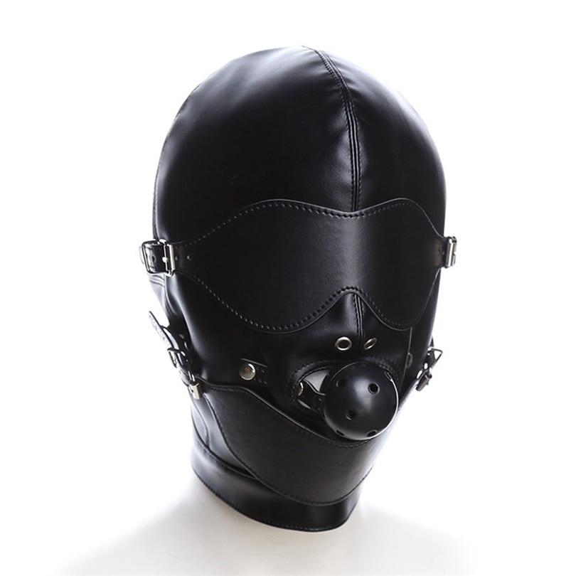 Black Sex Mask Fetish BDSM Leather Mouth Eye Slave Hood Ball Gag Sex Product Toy Bondage Erotic Costume For Couple Men Women