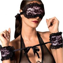 Women's Sexy Lingerie Soft Padded Lace Mask Blindfolded Patch + Sex Handcuffs Sex Toys For Couples Erotic Costumes For Women