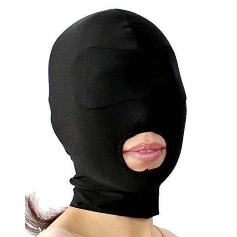 Soft Padded Blindfold Hood,Open Mouth Mask, Gag, Bondage, Fetish, BDSM, Role Play, Cosplay Unisex Adult Sex Toys For Couples