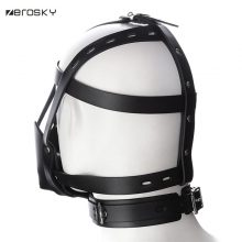 Zerosky PU Leather Head Harness Mouth Mask With Ball Mouth Gag Fetish Salve BDSM Bondage Restraint Sex Products For Couples