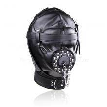 Superior Black Pu Leather Bondage Hood Fetish Open Mouth Sex Gag Mask Slave Bdsm Restraints Erotic Couples
