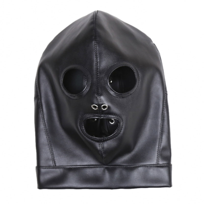 Fetish Hood Headgear PU Leather BDSM Bondage Breathable Sex Mask Hood Toys Adult Games Sex Product For Couples