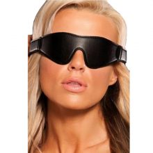 Black Genuine Leather Padded Blindfold Patch Eye Cover, Sleep Black-Out Restraints Mask Closure,Adult Sex Toys For Couple Woman