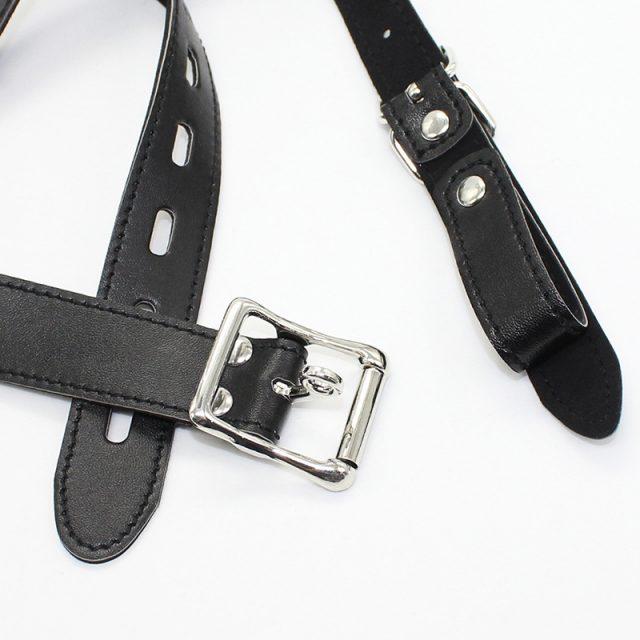 Gimp Fetish BDSM Bondage Muzzle Head Harness With Gag Ball PU Leather Half Head Restraints Mask Leash Chain Sex Toys For Adults