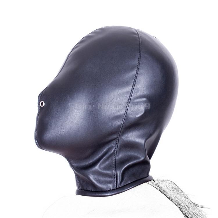 PU leather Fetish Sex Mask BDSM Sex Toys For Couples Flirting BDSM Bondage Totally Enclosed Hood