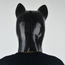 New extra thickness 1.6mm Latex rubber fetish animal mask with back zipper puppy slave dog hood solid nose
