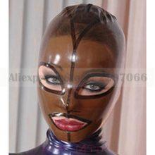 Latex fetish mask with back zip transparent black hood latex club wear RLM046