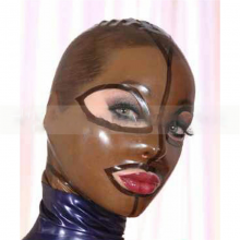 Latex Fetish Mask Back Zip Transparent Black Hood Club Wear Rlm046