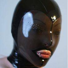 Latex Fetish Mask Back Zip Transparent Black Face Hood