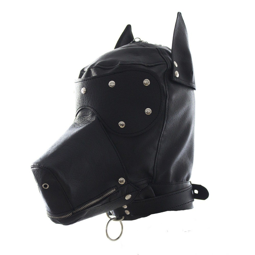 Quality Latex Rubber Cosplay Dog Full Head Mask with Ears Fetish Muzzle Hood Pet Role Play Cosplay Costume Party Sexy Prop