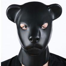 Latex Rubber Fetish Animal Mask Back Zipper Hat Big Leopard