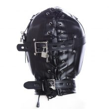 Thickening Leather Dew Mouth BDSM Mask With Lock Sex Slave Head Hood Bondage Restraints Erotic Sex Toys For Couples