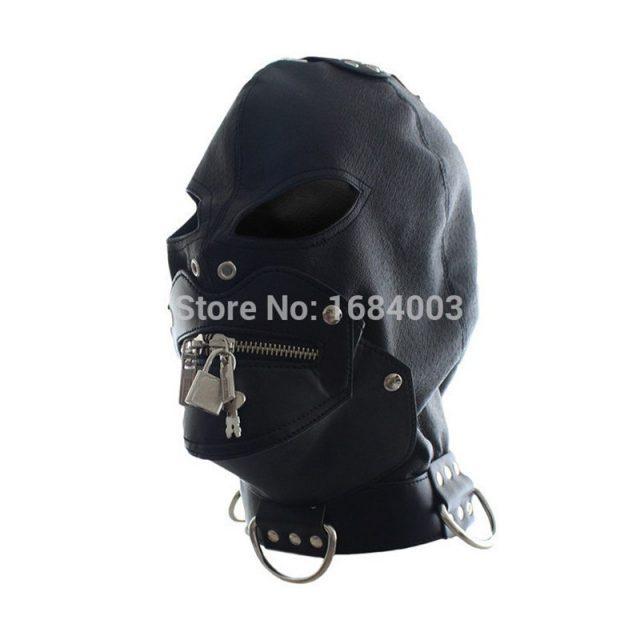 BDSM Bondage Fetish Slave Head Mask Sex Hood Zipped Lock for Party Play Pleasure Sex Toys Adult Games Black Faux Leather