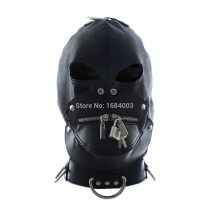 BDSM Bondage Fetish Slave Head Mask Sex Hood Zipped Lock for Party Play Pleasure Sex Toys Adult Games Black Faux Leather
