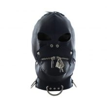 Fully Enclosed Leather Mask Hood Headgear Zipper Lock Mouth Slave Bdsm Bondage Restraints Helmet Games Products