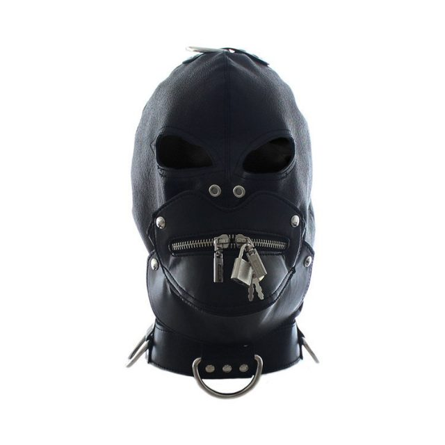 Fully enclosed leather mask hood headgear zipper lock mouth slave bdsm bondage restraints helmet adult games products for adults