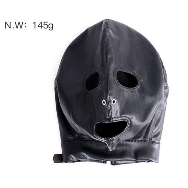 2018 New Mask Hood High-grade PU Leather Lock Collar Halloween Headgear Mysterious Eye Face Mask Adult Game Sex Toys J10-1-44