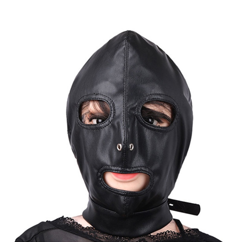 2018 New Mask Hood High-grade PU Leather Lock Collar Halloween Headgear Mysterious Eye Face Mask Adult Game Sex Toys J10-1-44