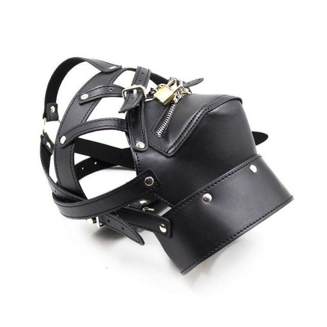 Zipper Mouth Mask With Lock Fetish Bondage Restraint Hood Sex Products Bondage Neck Collar Mask Sex Toy For Couples Erotic Toys
