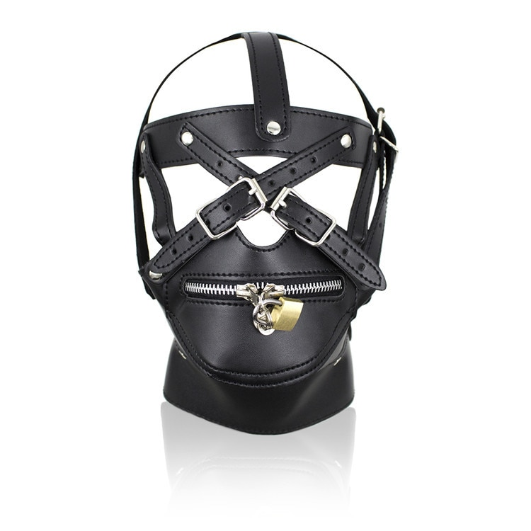 Zipper Mouth Mask With Lock Fetish Bondage Restraint Hood Sex Products Bondage Neck Collar Mask Sex Toy For Couples Erotic Toys
