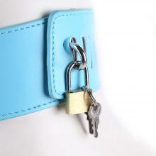 Blue Leather Bondage Harness Sex Mask Collar Lock Fetish Couples Tools