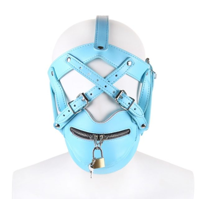hot blue leather bondage harness sex mask with bdsm collar lock adult fetish mask sex toys for couples sex tools for sale
