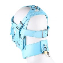 Sexy Mask Hood Leather Bondage Restraints Headgear Hood Mask Cover Slave Erotic Toy Sex Mask Adult Games Zipper Lock Mouth Gag