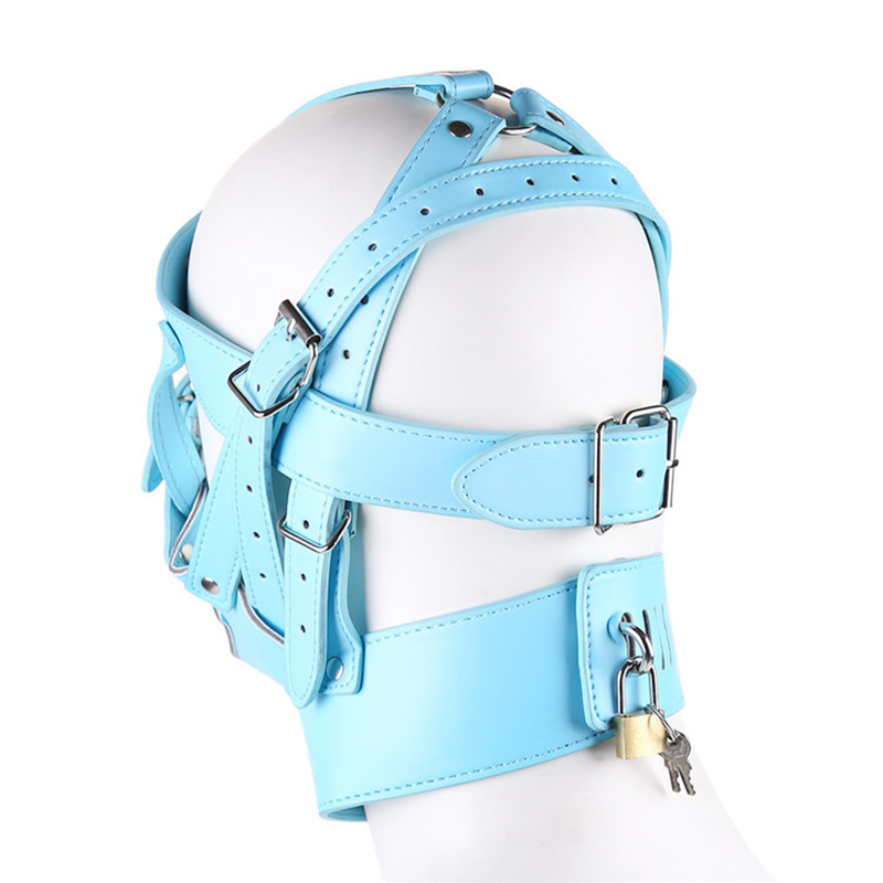 Sexy Mask Hood Leather Bondage Restraints Headgear Hood Mask Cover Slave Erotic Toy Sex Mask Adult Games Zipper Lock Mouth Gag