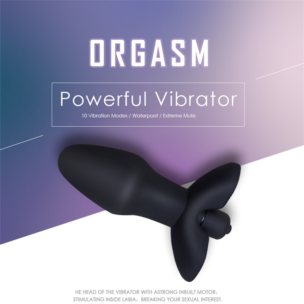 10 Speeds Vibrator Anal Plug Sex Toys for Men/ Women, Black Medical Silicone Butt Plug Sex Products for Adult