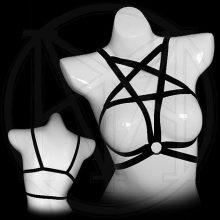 Star Elastic Punk Bra Body Sexy Black Pentagram Bondage Lingerie Goth Caged Bra Women Harness Belt GPD8268