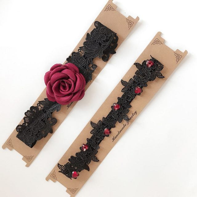 Red Wedding Garters: Wedding Garters Red Rose Lace Embroidery Floral Sexy